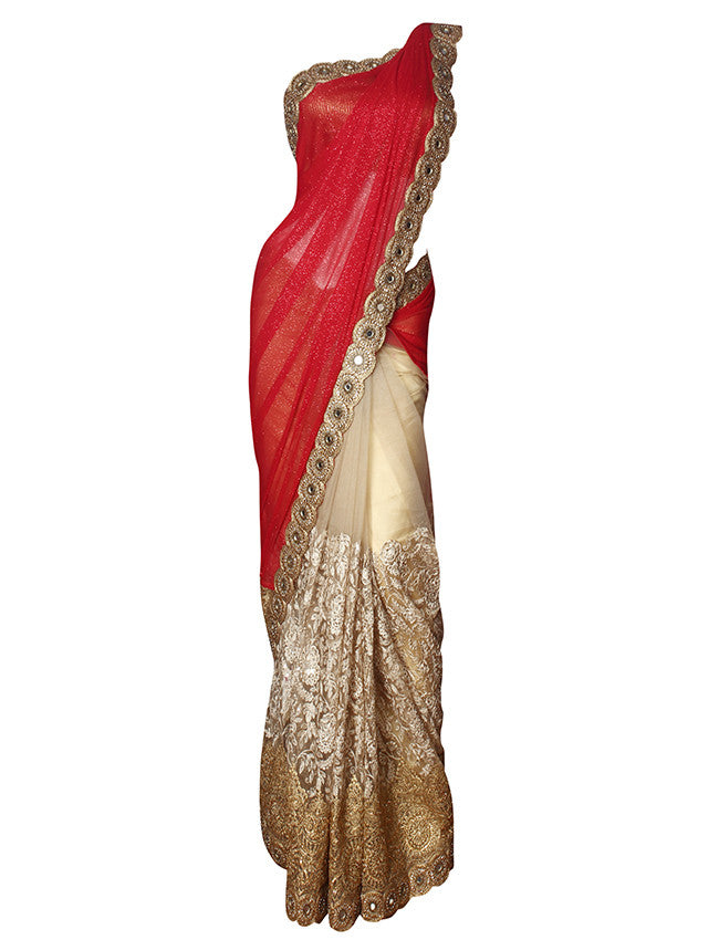 Beige red half and half saree with zari and resham embroidery