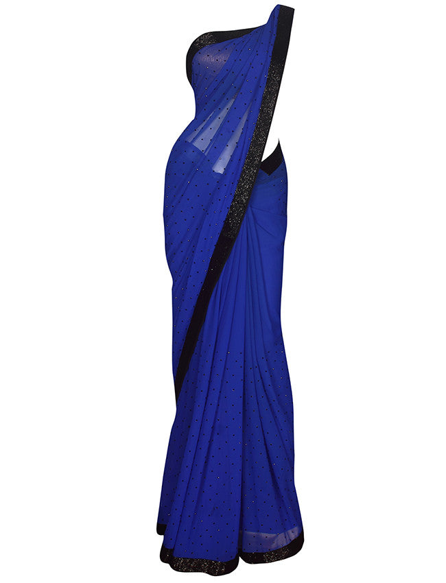 Royal blue party wear saree with cutdana and stone work