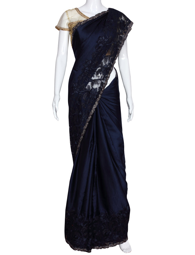 Navy blue party wear saree with cutdana and thread cording