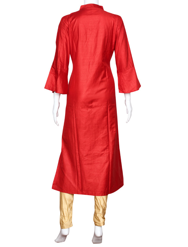 Red straight cut kurti with sequins and pita work