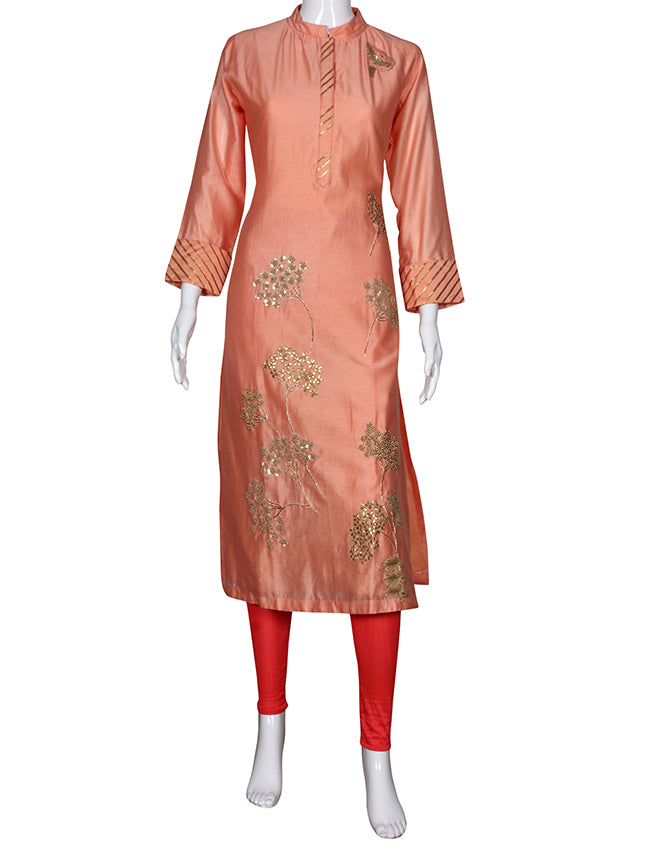 Peach straight cut kurti with thread embroidery gotta patti and hand work