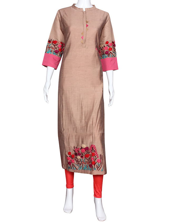 Onion pink straight cut kurti with thread embroidery