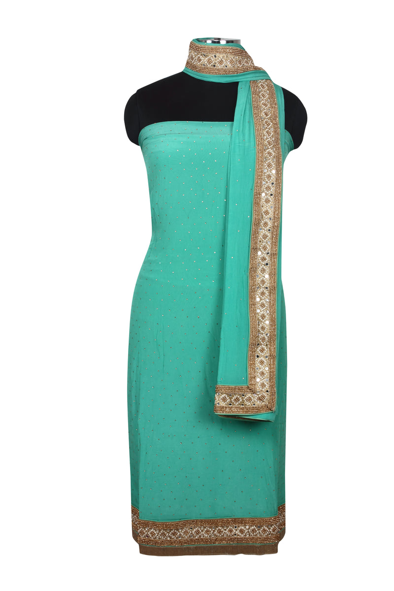Sea green unstitched suit with kundan and diamante work