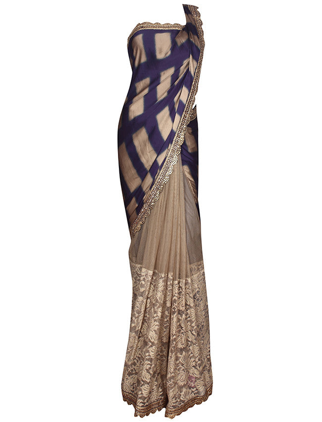 Beige blue half and half saree with kundan and zari embroidery
