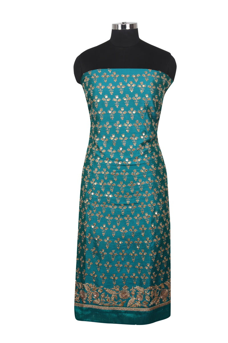 Teal green unstitched suit with sequins and zardosi work