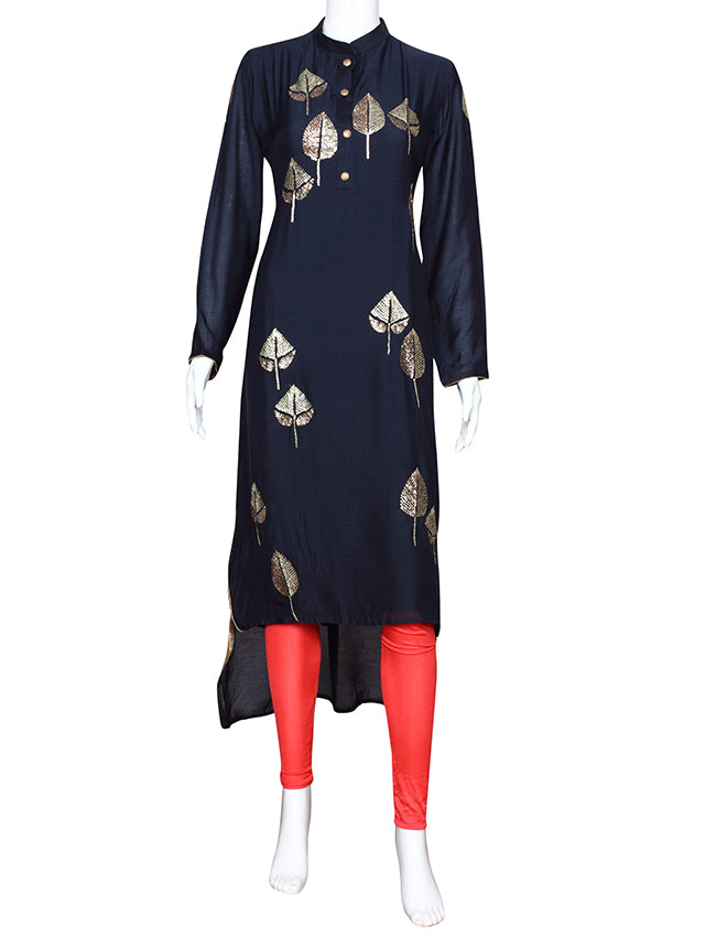 Navy blue party wear kurti with sequins work