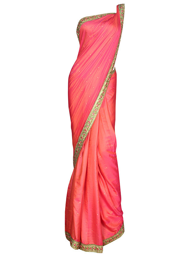 Rose pink saree with zardosi zari and resham embroidery