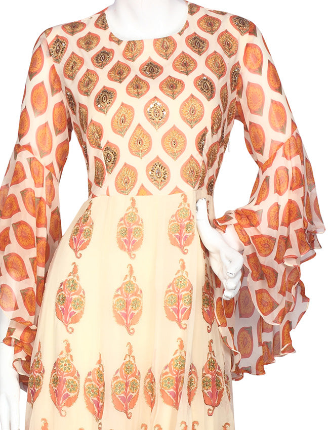 Cream printed anarkali suit with zari embroidery and handwork