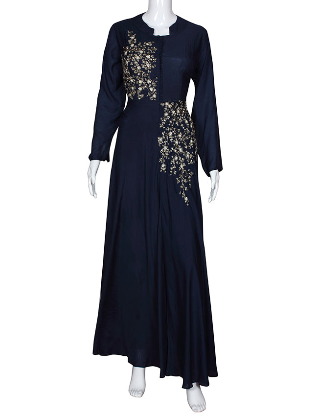 Navy blue gown with sequins cutdana and beads work