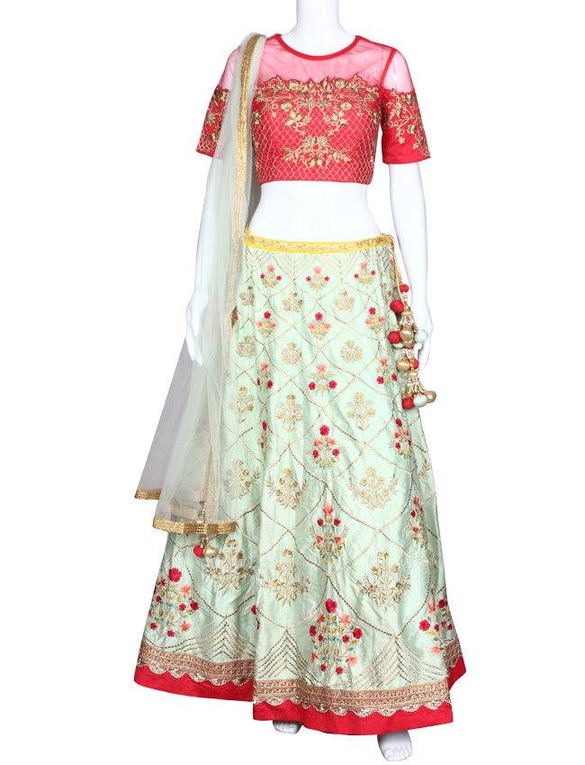Pista green coral bridesmaid lehenga with resham zari embroidery and handwork