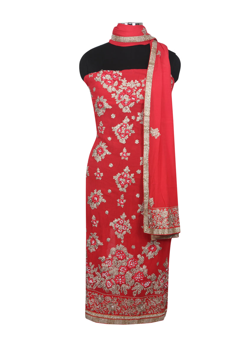 Coral unstitched suit with pearl and zari embroidery