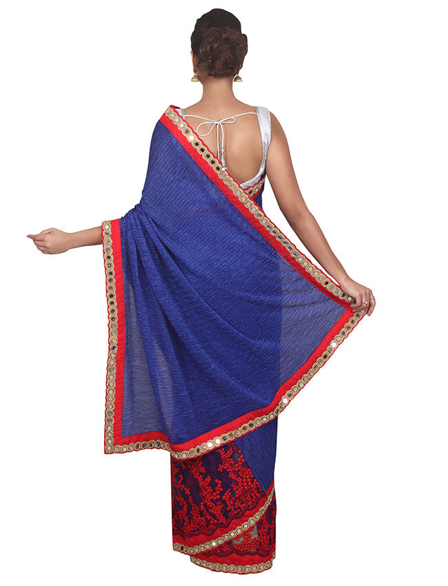 Blue half and half saree with mirror resham embroidery