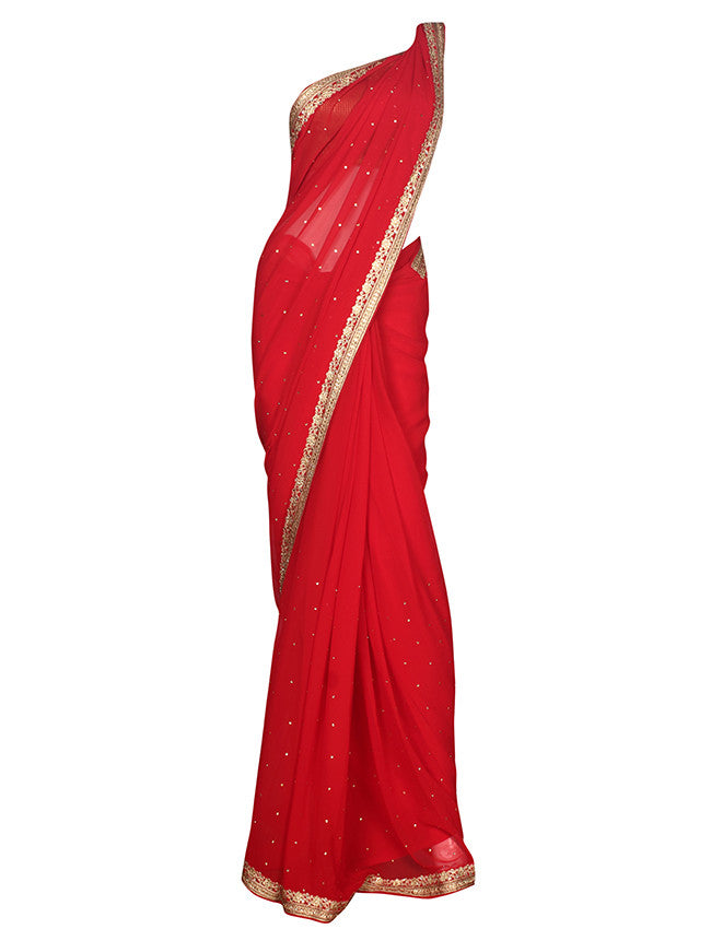 Red party wear saree with computerized aari embroidery