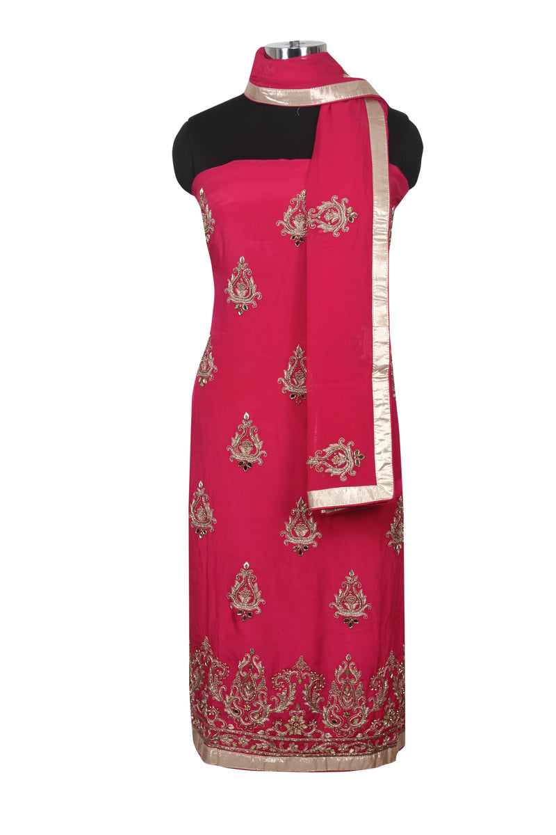 Deep pink unstitched suit with zardosi work