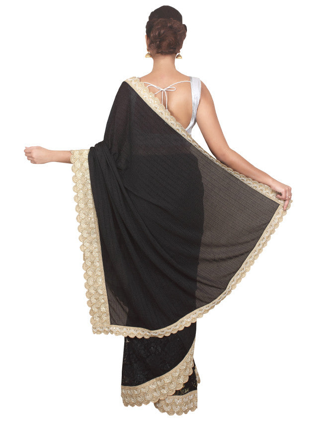 Black half and half saree with beads work