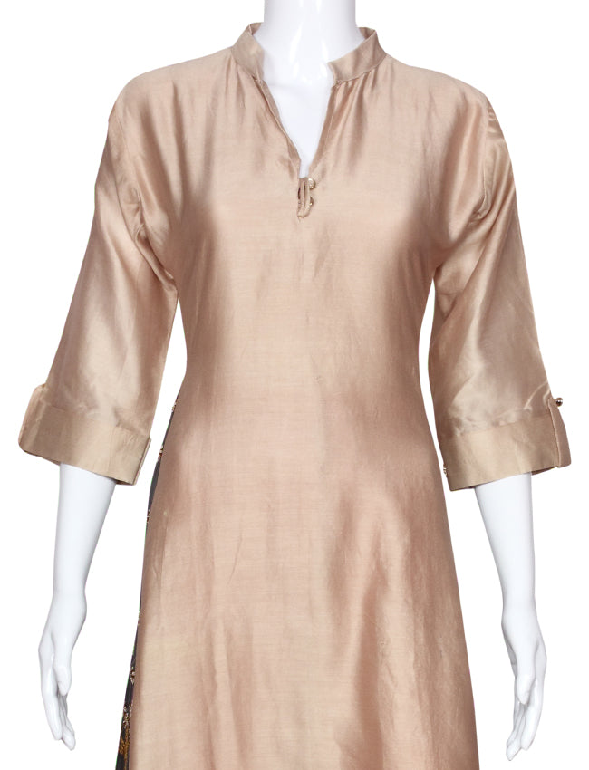 Beige party wear kurti with zardosi work