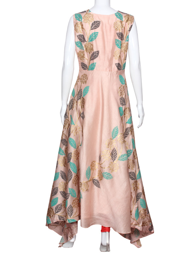Light peach designer suit with golden foil print and zari cording