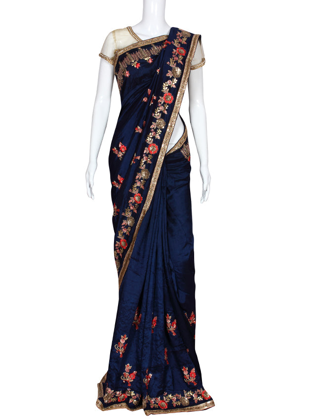 Navy blue party wear saree with resham embroidery and handwork