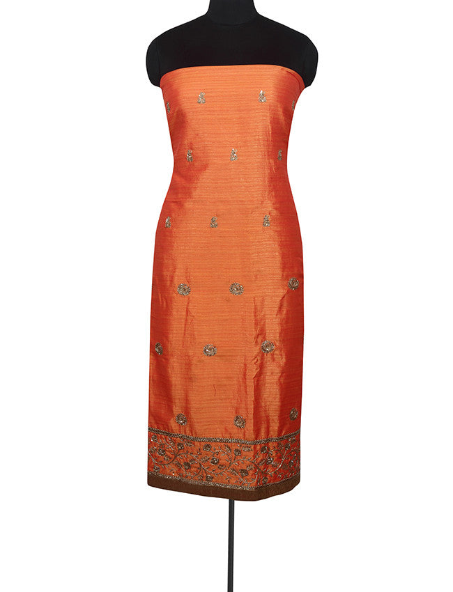 Orange unstitched suit with zardosi and cutdana work