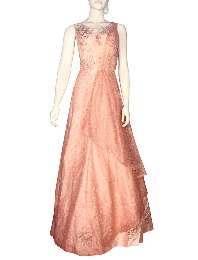 Peach party wear gown with resham and zari embroidery