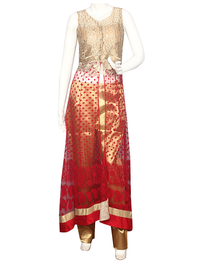 Red golden palazzo suit with handwork and zari embroidery