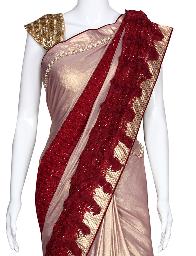 Rose golden party wear saree with beads