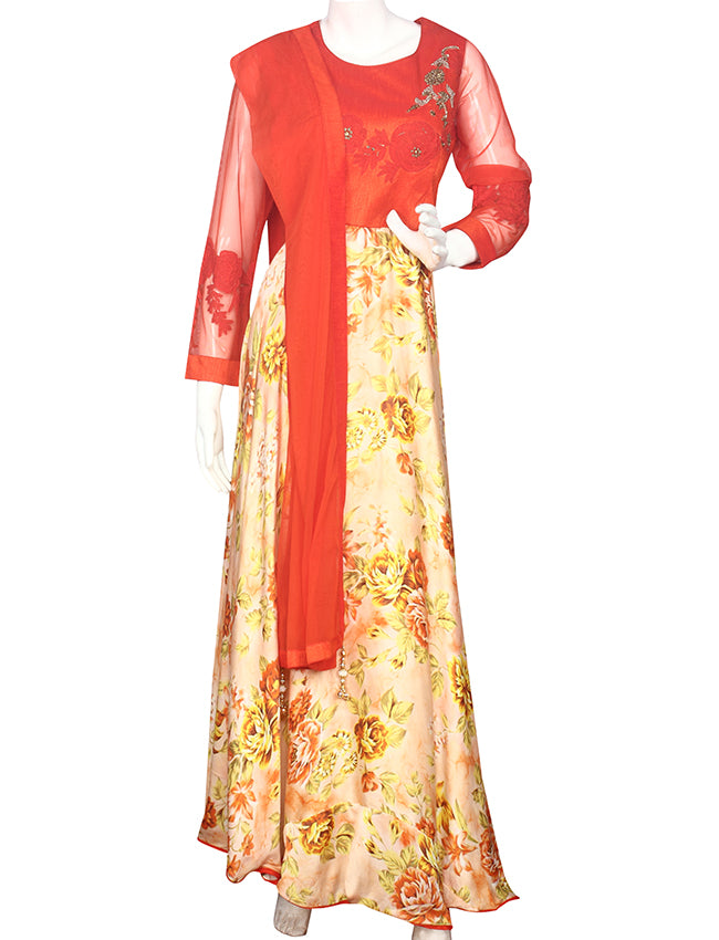 Peach orange printed suit with thread cording and handwork
