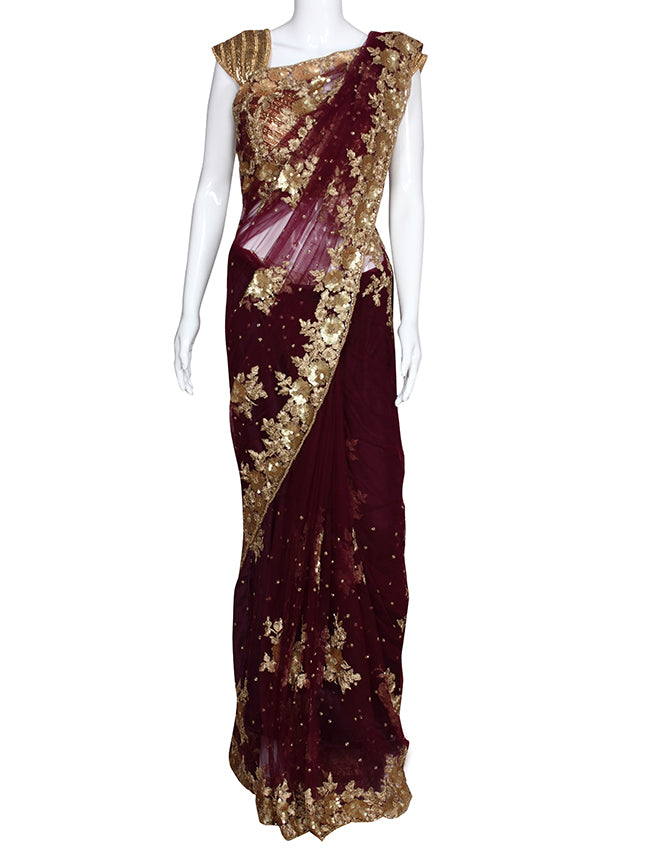 Wine party wear saree with sequins beads cutdana work and zari cording