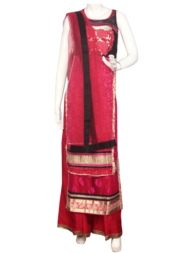 Deep pink double layered palazzo suit with thread embroidery