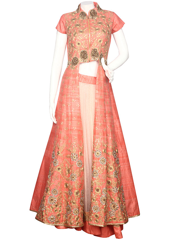Peach lacha lehenga with zari cording and handwork