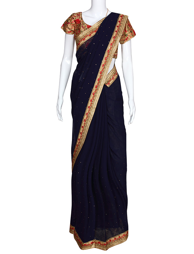 Navy blue party wear saree with kundan and machine embroidery