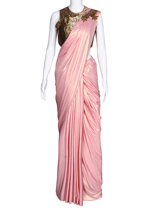 Pink ready to wear saree with handwork