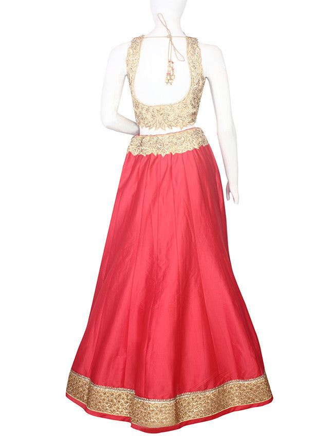 Coral pink  and cream lehenga with handwork