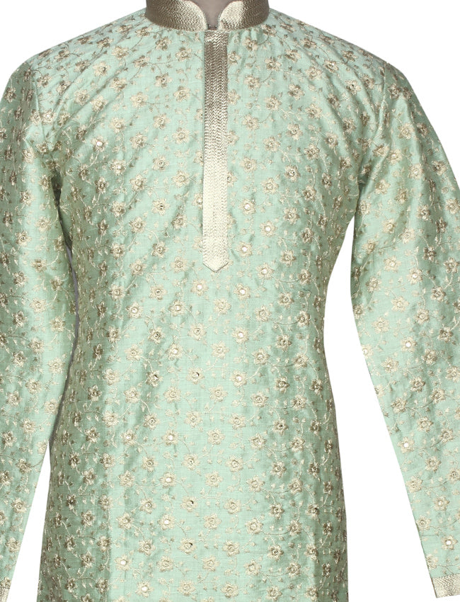 Pista green kurta suit with zari embroidery