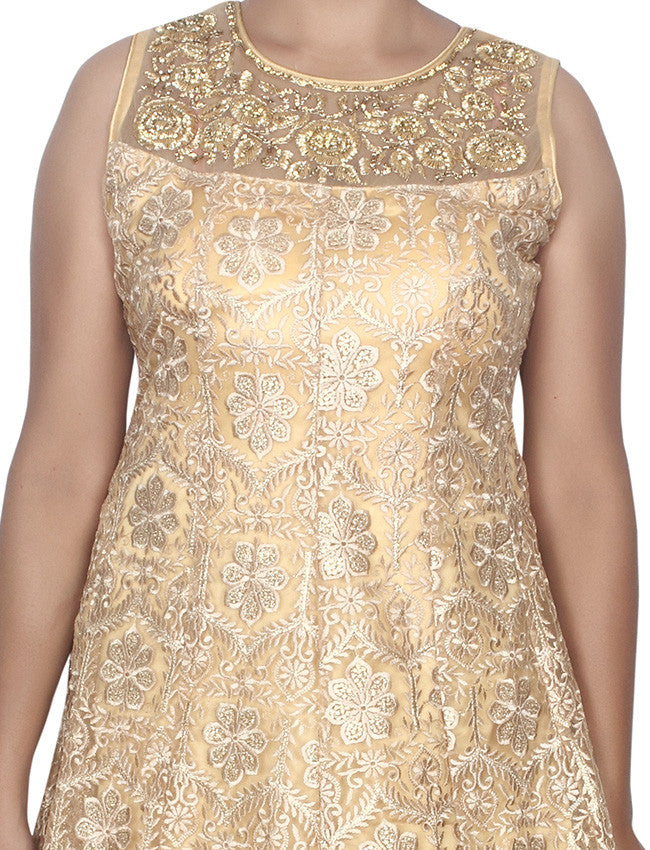 Beige anarkali suit with handwork