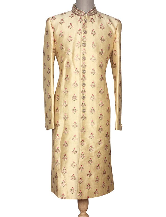 Cream indowestern jacket suit with sequins and thread embroidery