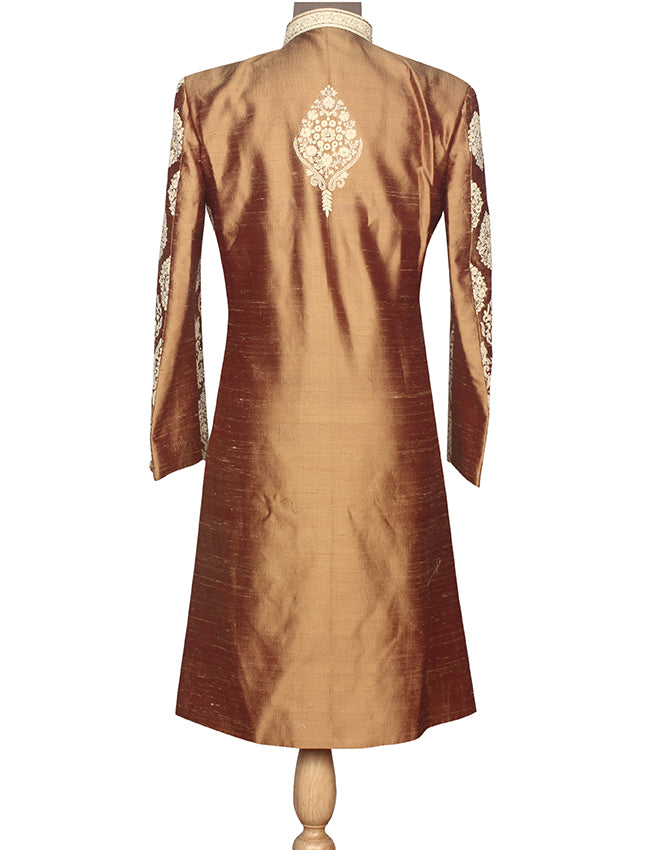 Golden indowestern suit with diamante and thread embroidery