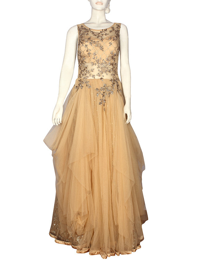 Beige indowestern gown with zardosi cutdana and zari embroidery