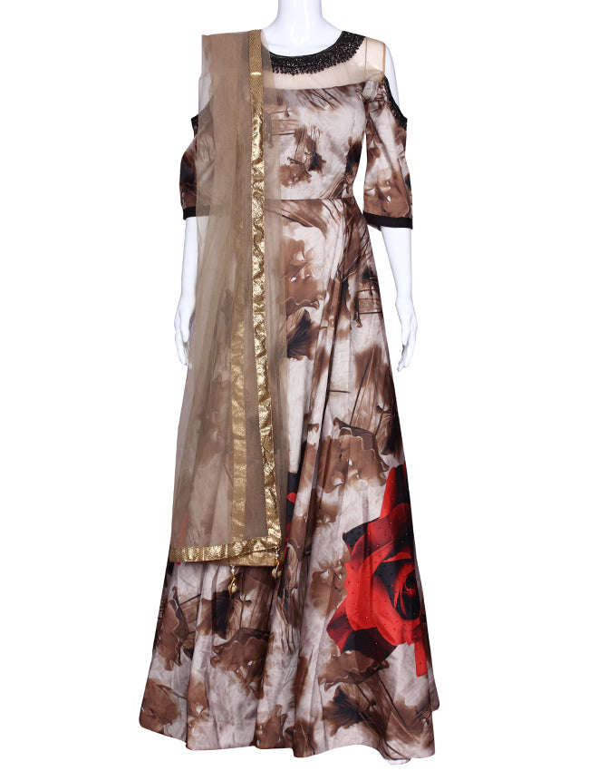Beige printed party wear suit with handwork