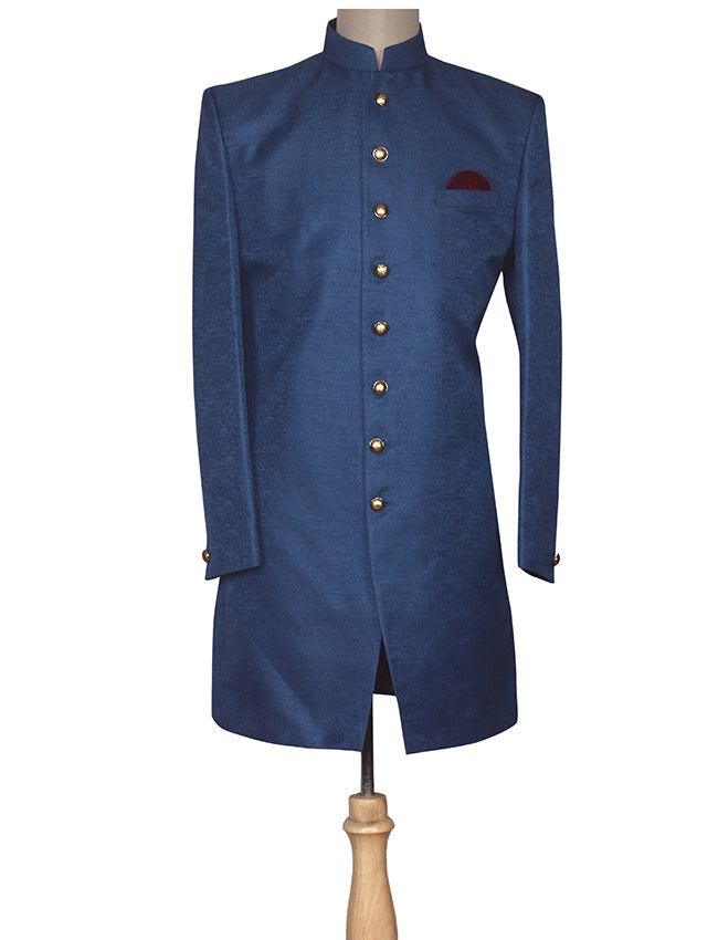Blue indowestern jacket suit