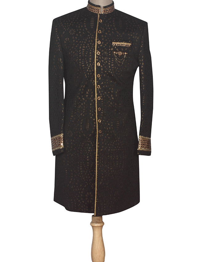 Black indowestern suit with stone work