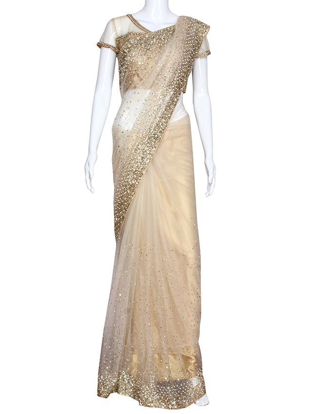 Cream party wear saree with pearl and sequins work
