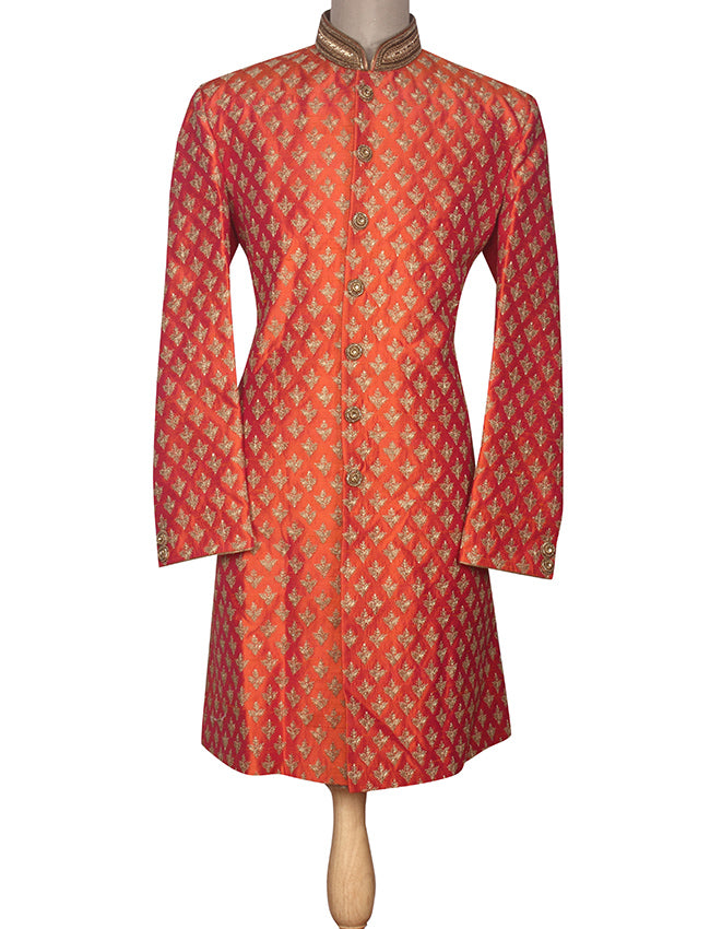Orange indowestern suit with zari embroidery and handwork
