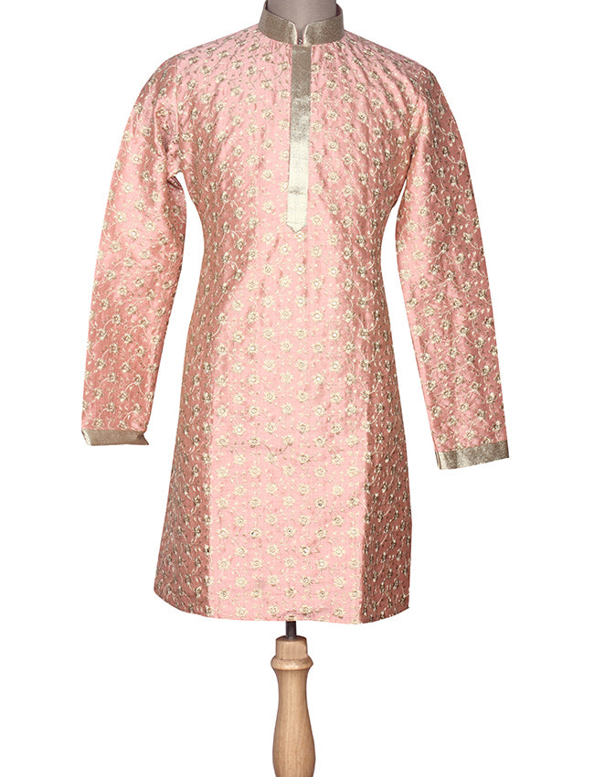 Peach kurta suit with zari embroidery