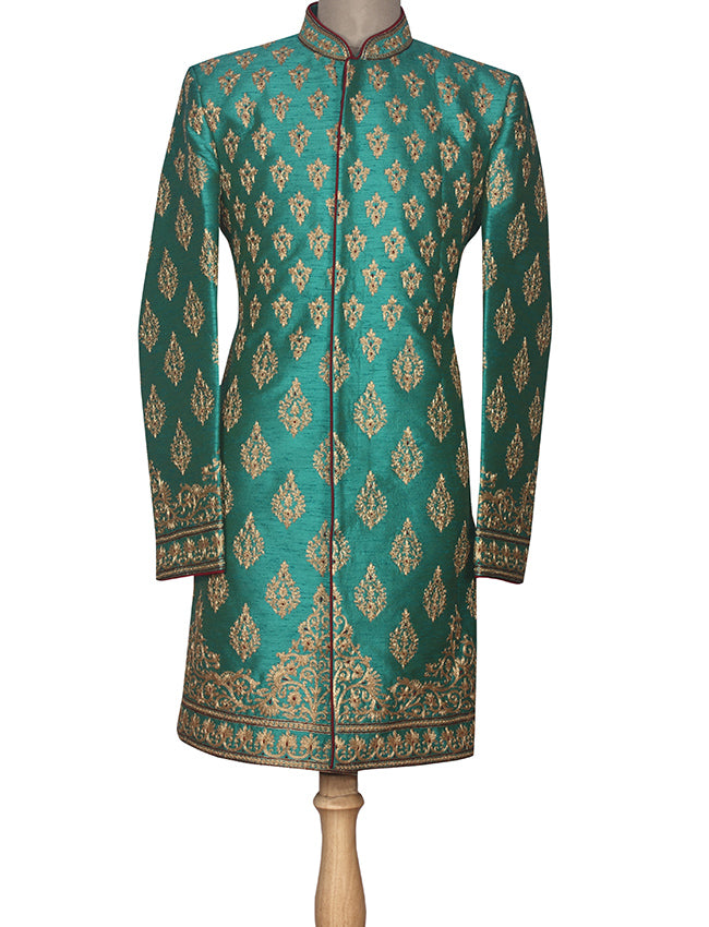 Teal green indowestern suit with zari embroidery