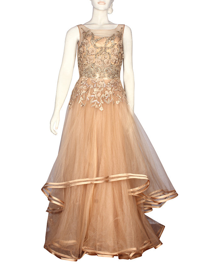 Beige double flare gown with zardosi cutdana and machine embroidery
