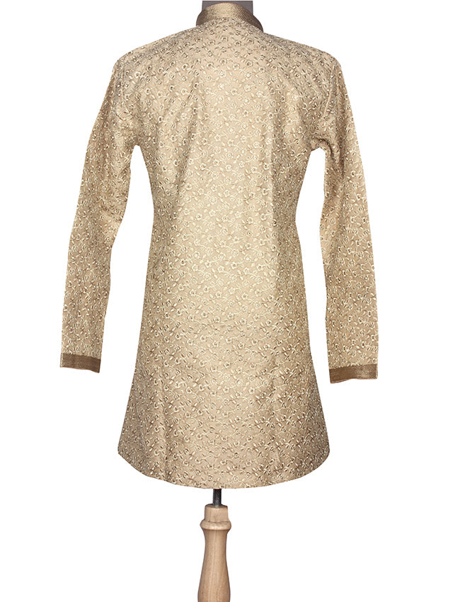 Beige kurta suit with resham and zari embroidery