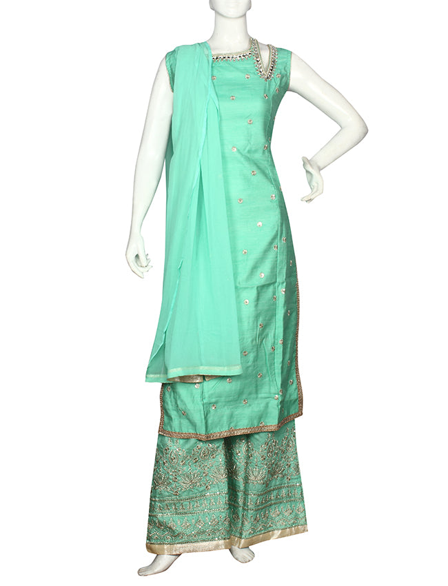 Pista green palazzo suit with Mirror and zari embroidery