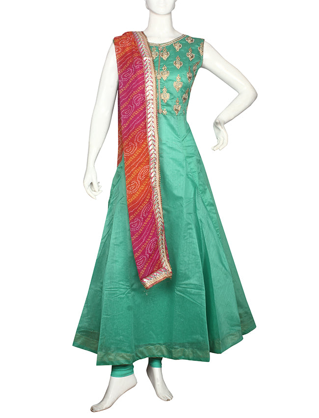 Sea green anarkali with beads and zari cording