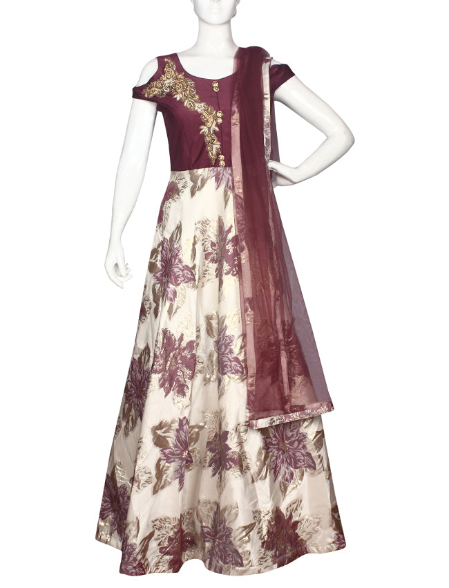 Cream and wine suit with zardosi and zari embroidery